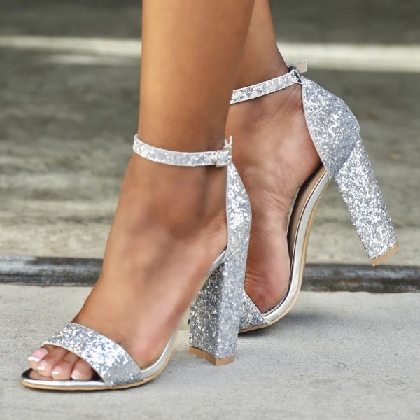 Women's Silver Glitter Shoes Chunky Heels Ankle Strap Sandals image 1