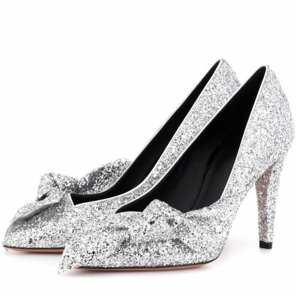4f2aefe6dc0c Women s Silver Glitter Shoes Cone Heel Pumps with Bow for Party ...