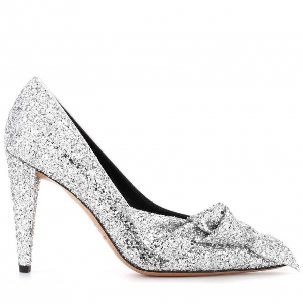 Silver Glitter Wedding Shoes Bow Detailed Pumps image 2