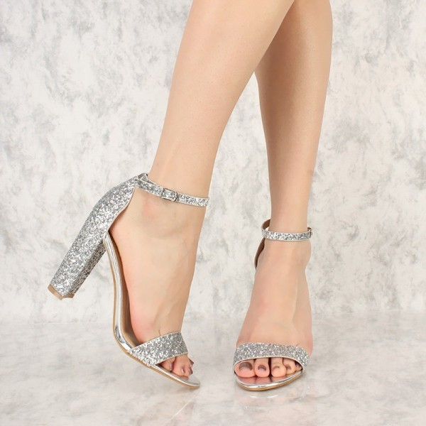 Women S Silver Glitter Shoes Chunky Heels Ankle Strap Sandals Image