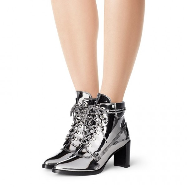 Silver Gray Lace up Boots Pointed Toe Chunky Heels Ankle Boots image 1