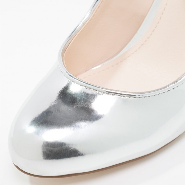 Women's Silver Mary Jane Pumps Chunky Heels Office Shoes image 3