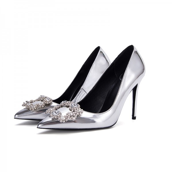 Women's Silver Bridal Shoes Mirror Leather Crystal Stiletto Heels image 1
