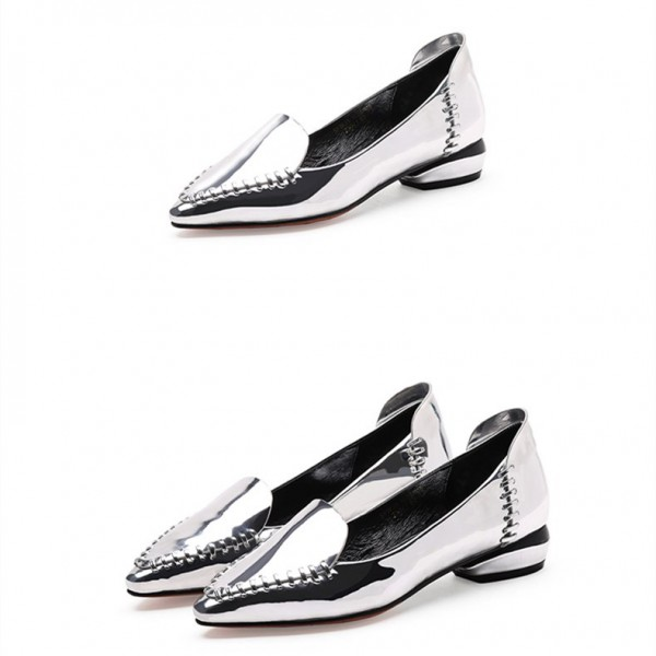 Women's Silver Mirror Leather Pointed Toe Comfortable Flats image 1