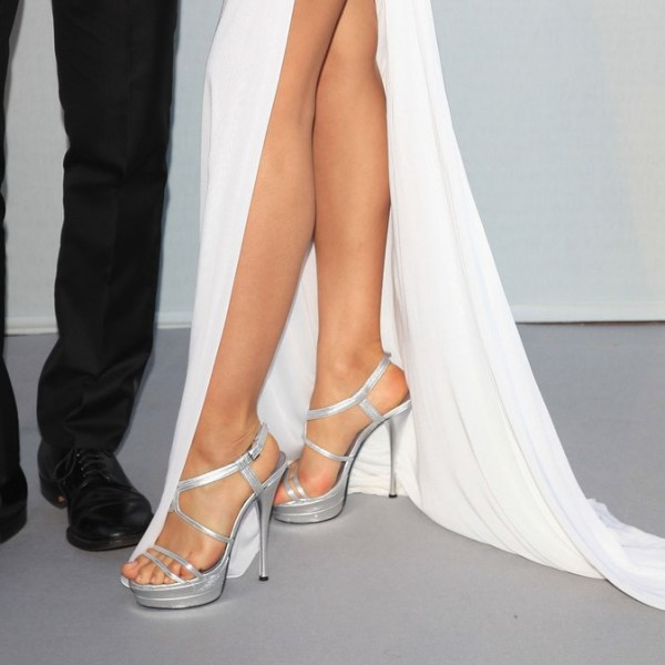 Silver Wedding Sandals Open Toe Platform Sandals Slingback Heels image 3