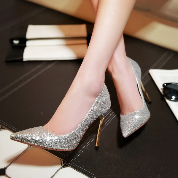 cad278454c0b Silver Glitter Shoes Pointy Toe Blade Stiletto Heel Sparkly Pumps image 1  ...
