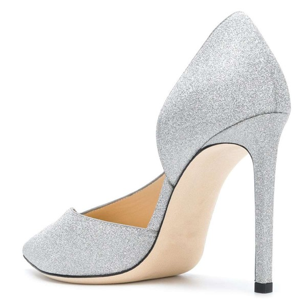 Women's Silver Pointy Toe Stiletto Heels Glitter Shoes image 3