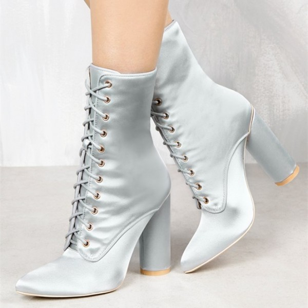 Women's Silver Satin Chunky Heel Boots Lace Up Short Ankle Booties image 1