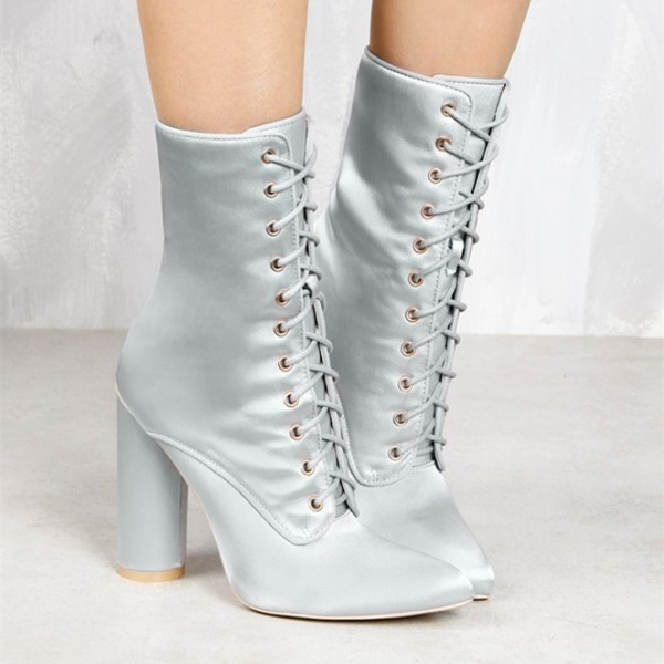Women's Silver Satin Chunky Heel Boots Lace Up Short Ankle Booties image 2