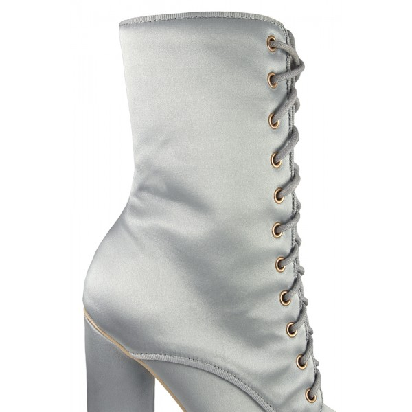 Women's Silver Satin Chunky Heel Boots Lace Up Short Ankle Booties image 3
