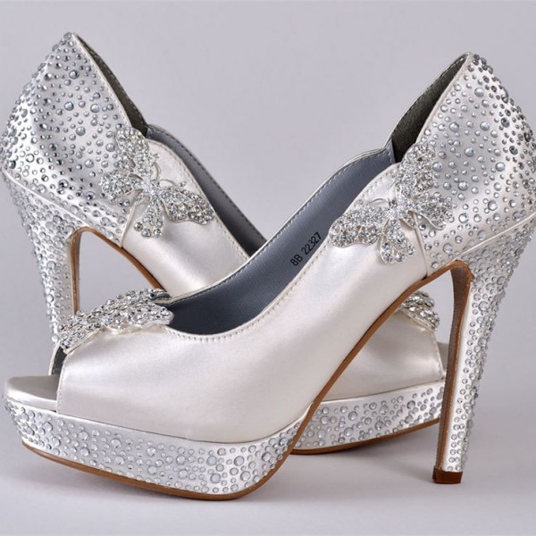 White Satin Bridal Heels Peep Toe Rhinestone Platform Wedding Shoes image 1