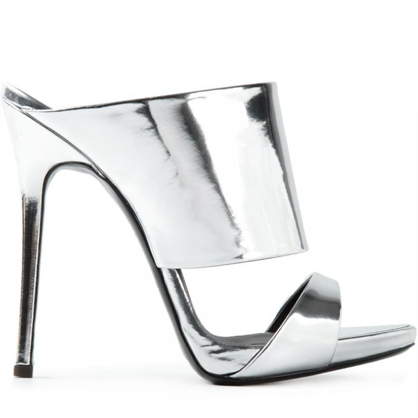 Silver Metallic Mule Heels Open Toe Stiletto Heels for Office Lady image 2