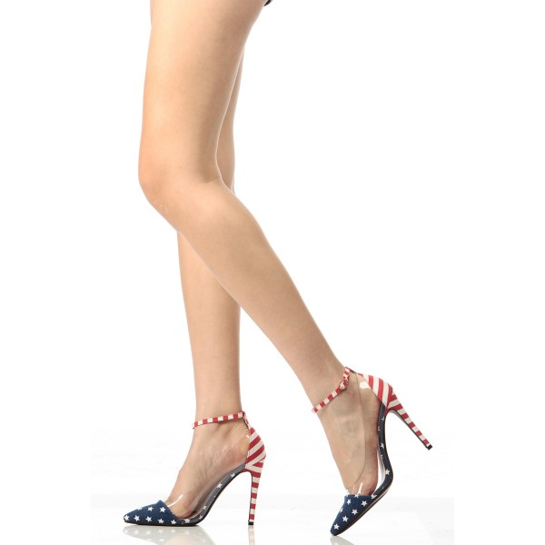 Women's Star and Stripes Ankle Strap Sandals Clear Stiletto Heel Pumps image 1