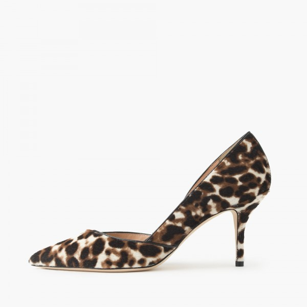 Women's Suede D'orsay Pumps Leopard Print Heels Stiletto Heels Shoes image 2