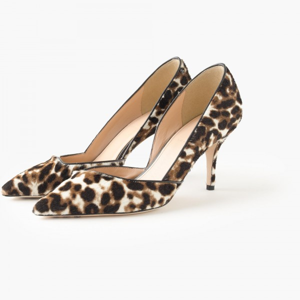 Women's Suede D'orsay Pumps Leopard Print Heels Stiletto Heels Shoes image 1