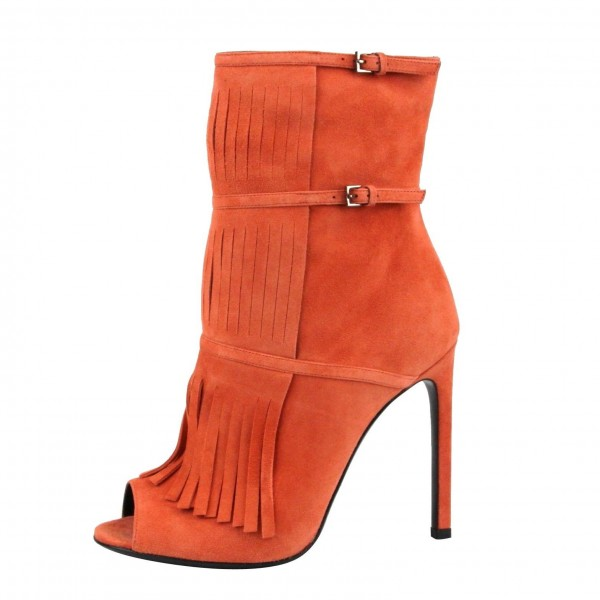 Women's Suede Orange Peep Toe Buckle Stiletto Heel Fashion Boots image 4