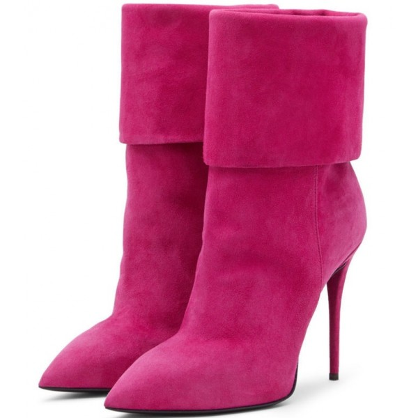 Women's Suede Orchid Stiletto Heels Pointy Toe Ankle Fashion Boots image 1