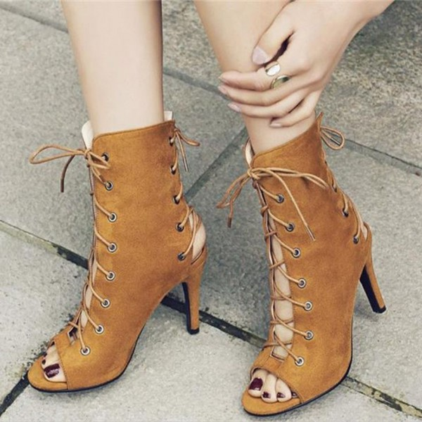 Women's Tan Boots Suede Lace up Boots Slingback Heels Ankle Booties image 1