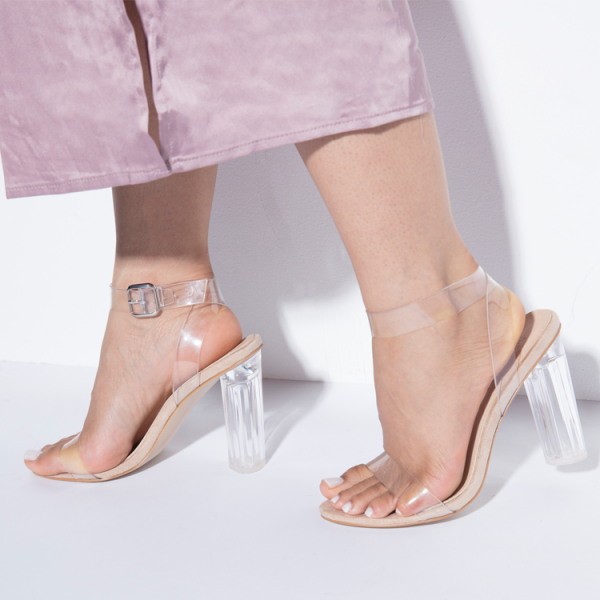 Women's Transparent Chunky Heel Sandals Open Toe Ankle Strap Sandals image 1