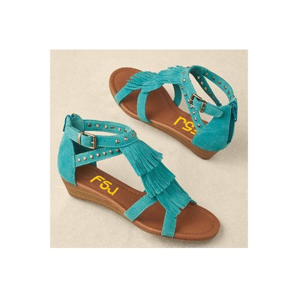 Turquoise Suede Fringe Sandals Open Toe Low Heel Studs Shoes image 2