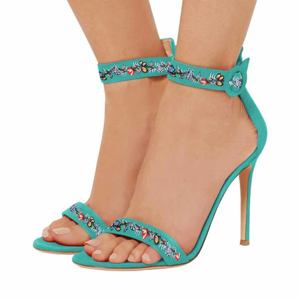 Women's Turquoise Flower Stiletto Heel Ankle Strap Sandals  image 1