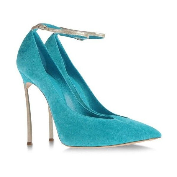Turquoise Heels Ankle Strap Suede Stiletto Heel Pumps for Office Lady image 3