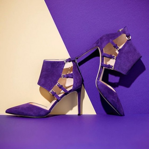 Purple Suede Shoes Pointy Toe Cut out Stiletto Heel Pumps with Buckles image 1