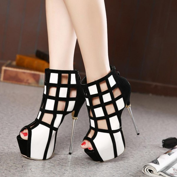 Women's White and Black Peep Toe Hollow out Platform Shoes image 4