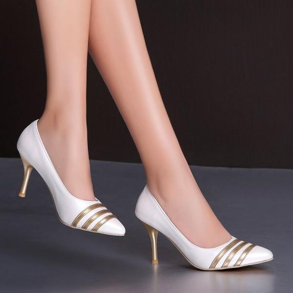 Women's White and Gold Dress Shoes Stiletto Heels Pumps Evening Shoes for Cocktail Party image 2