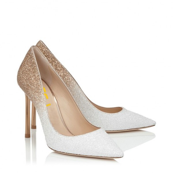 Women's White N Golden Wedding Shoes Pointed Toe Stiletto Heels Pumps image 3