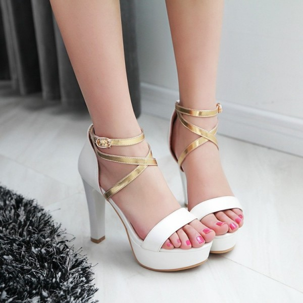 Women's White Ankle Strap Cross Over Platform Chunky Heel Sandals image 2