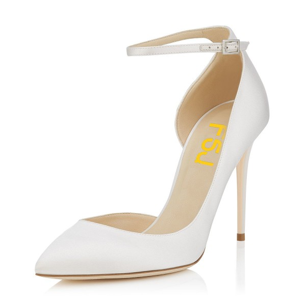 Women's White Ankle Strap Heels Dorsay Stiletto Heel Pumps image 1