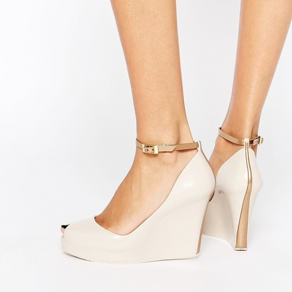 Nude Ankle Strap Heels Peep Toe Wedge Heels for Women image 1