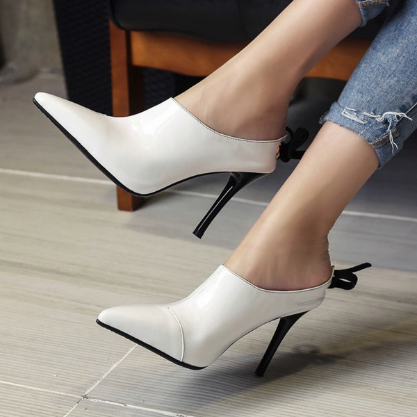 Women's White Back Lace up Pointy Toe Stiletto Heels Mules image 1