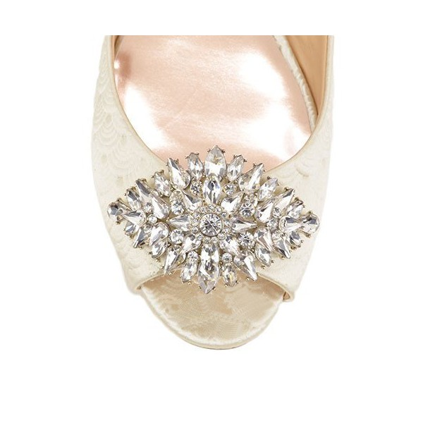 Women's White Bridesmaid Flats Crystal Decorated Bridal Shoes  image 3