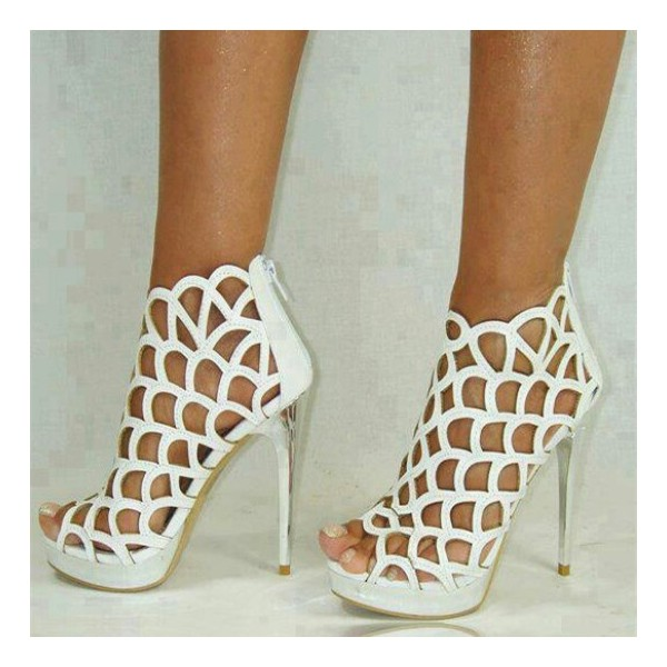 Women's White Cage Hollow Out Stiletto Heels Wedding  Sandals  image 1