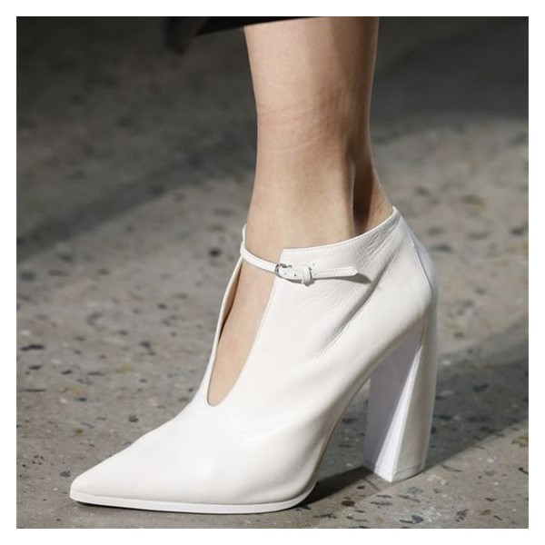 Women's White Commuting Pointy Toe Block Heel Vintage Shoes image 1