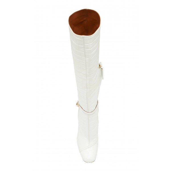Women's White Croc Vegan Leather Knee Boots with Buckle image 2