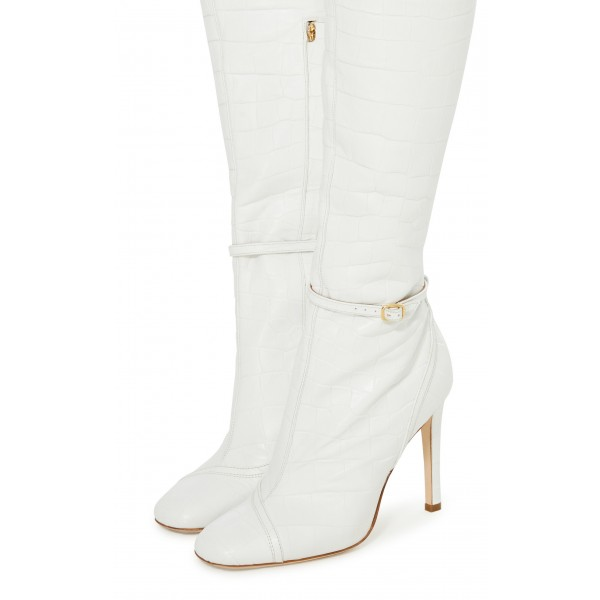 Women's White Croc Vegan Leather Knee Boots with Buckle image 3