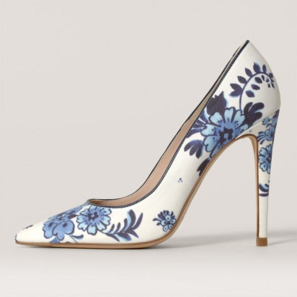 Women's White Floral Heels Pointed Toe Stiletto Heels Pumps image 1