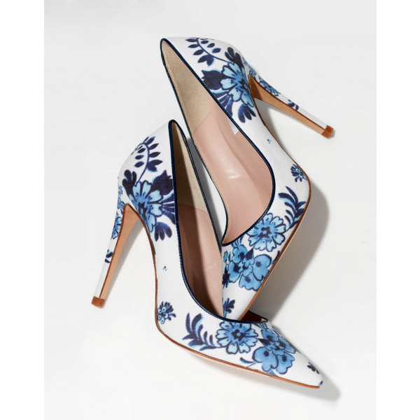 Women's White Floral Heels Pointed Toe Stiletto Heels Pumps image 3