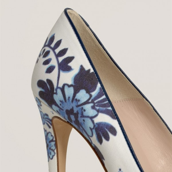 Women's White Floral Heels Pointed Toe Stiletto Heels Pumps image 2