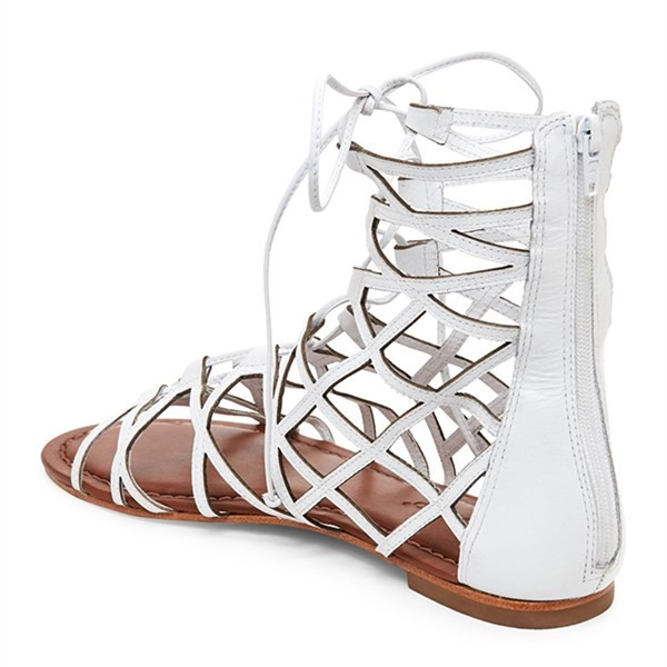 Women's White Gladiator Sandals Hollow out Lace up Flats Size US 4-15 image 3