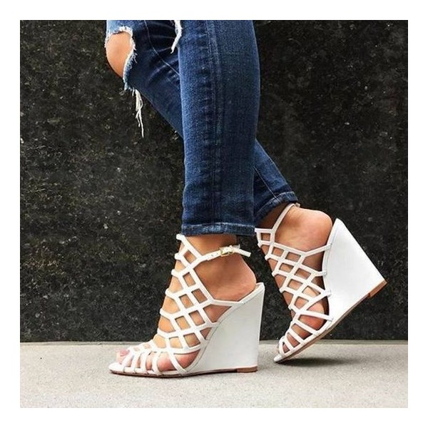White Wedge Sandals Peep Toe Slingback Laser Cut Cage Sandals image 1