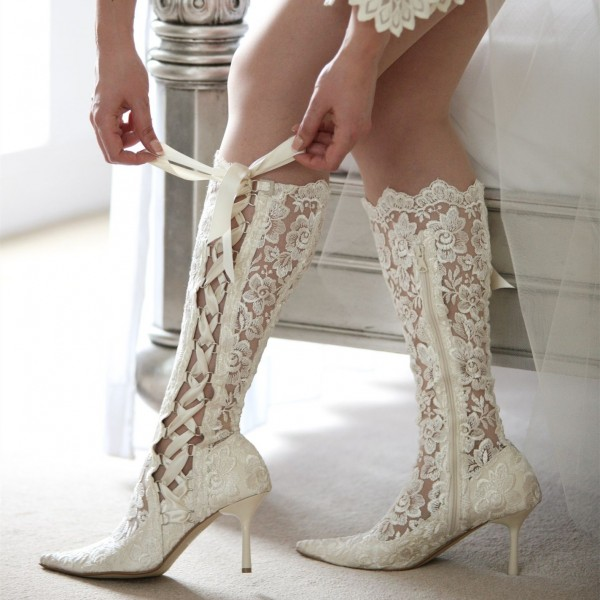 White Lace Bridal Shoes Pointy Toe Side Lace up Knee Boots for Wedding image 1