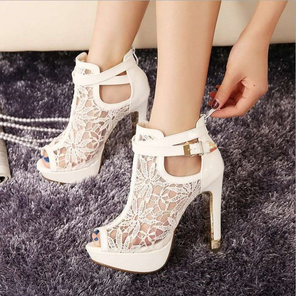 Women's White Lace Peep Toe Buckle Stiletto Heels Wedding Shoes  image 1