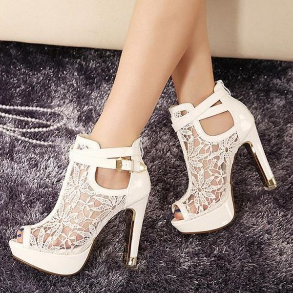 White Lace Wedding Shoes Peep Toe Stiletto Heels Summer Boots image 4