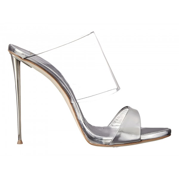 Silver Metallic and Clear Mule Heels Open Toe Office Stiletto Heels image 2