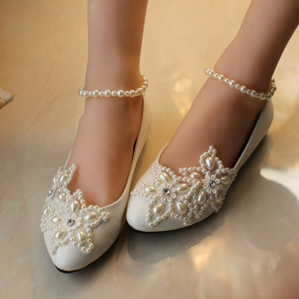 Women's White Pearl Ankle Strap Decorated Flats Bridal Shoes  image 1