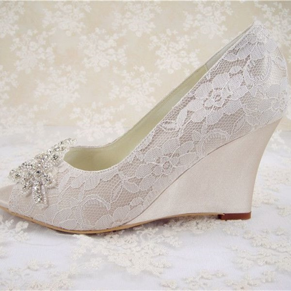 White Wedding Shoes Lace Heels Peep Toe Wedge Pumps for Bride for ...